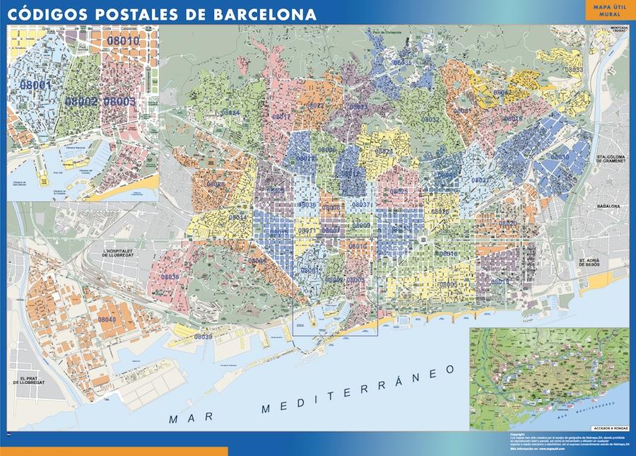 Mapa c digos postales de barcelona mapas posters mundo y for Codigo postal del barrio de salamanca en madrid