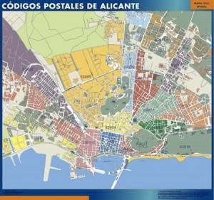 Alicante mapa códigos postales
