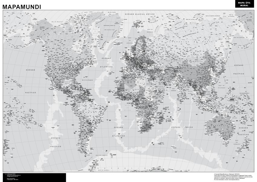 Mapamundi blanco y negro  Mapas Posters Mundo y Espaa