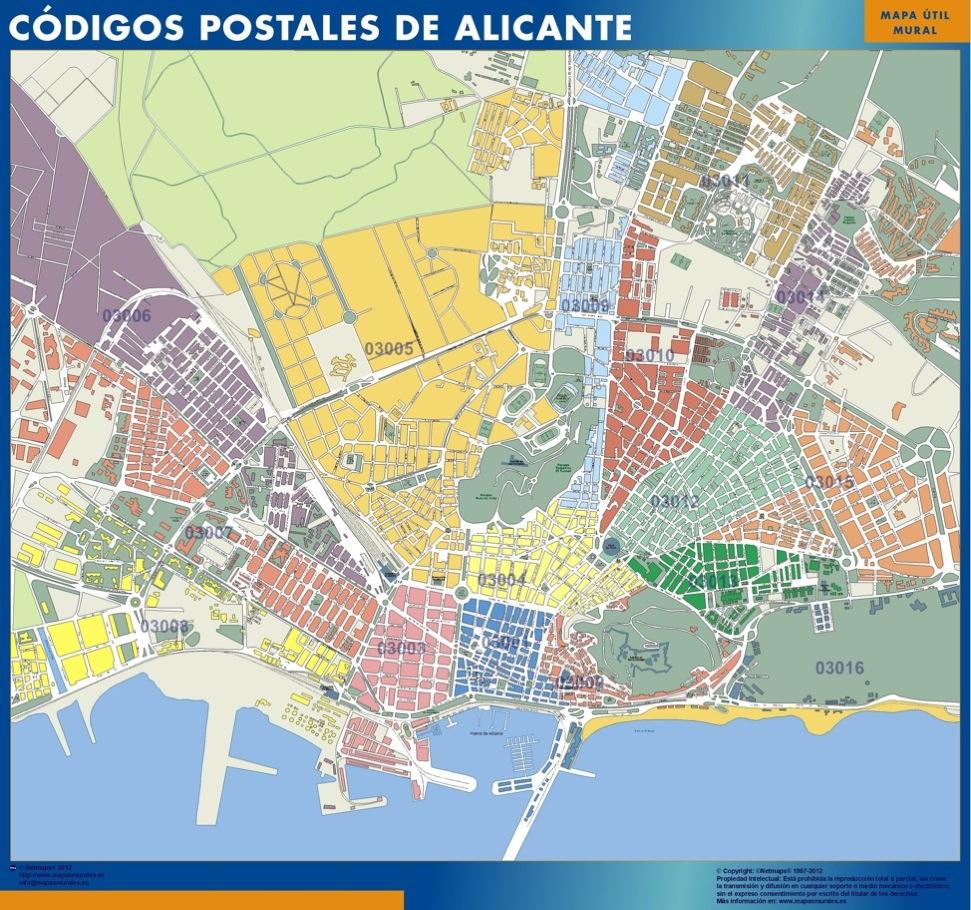 Mapa c digos postales de alicante mapas posters mundo y for Codigo postal calle salamanca valencia
