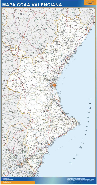 Mapa Costa Comunidad Valenciana.Mapa Comunidad Valenciana Tienda Mapas