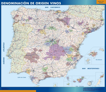 Mapa plastificado España Denominacion Origen Vinos