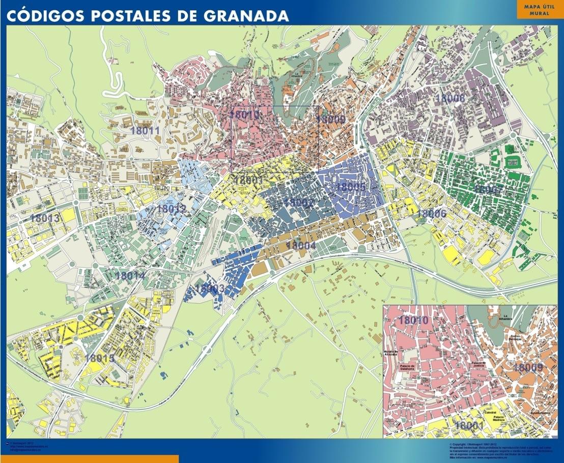 Mapa c digos postales de granada mapas posters mundo y for Codigos postales madrid capital