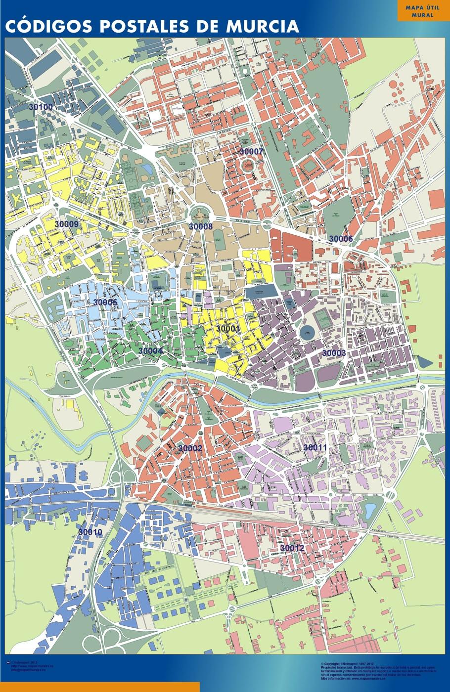 Mapa c digos postales de murcia mapas posters mundo y espa a for Codigo postal del barrio de salamanca en madrid