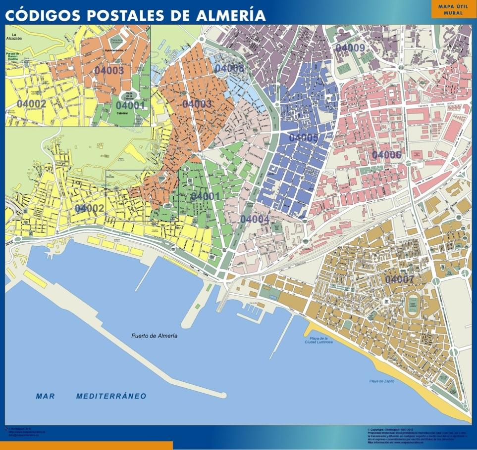 Mapa c digos postales de almer a mapas posters mundo y for Codigo postal del barrio de salamanca en madrid