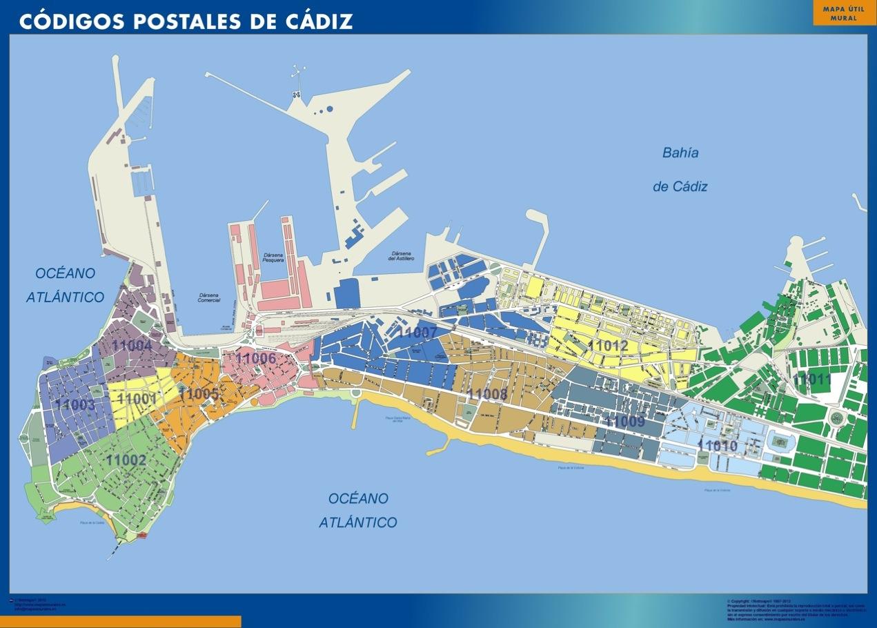 Mapa c digos postales de c diz mapas posters mundo y espa a for Codigo postal del barrio de salamanca en madrid