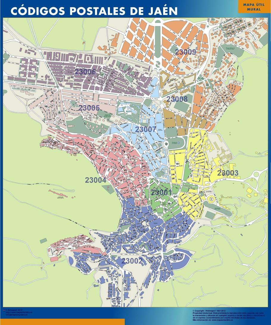 Mapa c digos postales de ja n mapas posters mundo y espa a for Codigo postal del barrio de salamanca en madrid