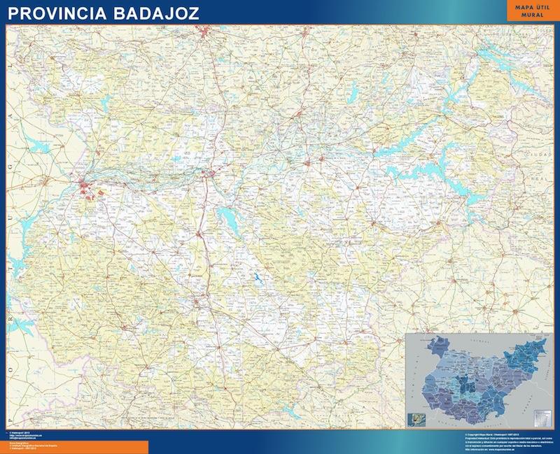 Mapa De Badajoz Capital.Mapas Provincia Badajoz En Extremadura Tienda Mapas