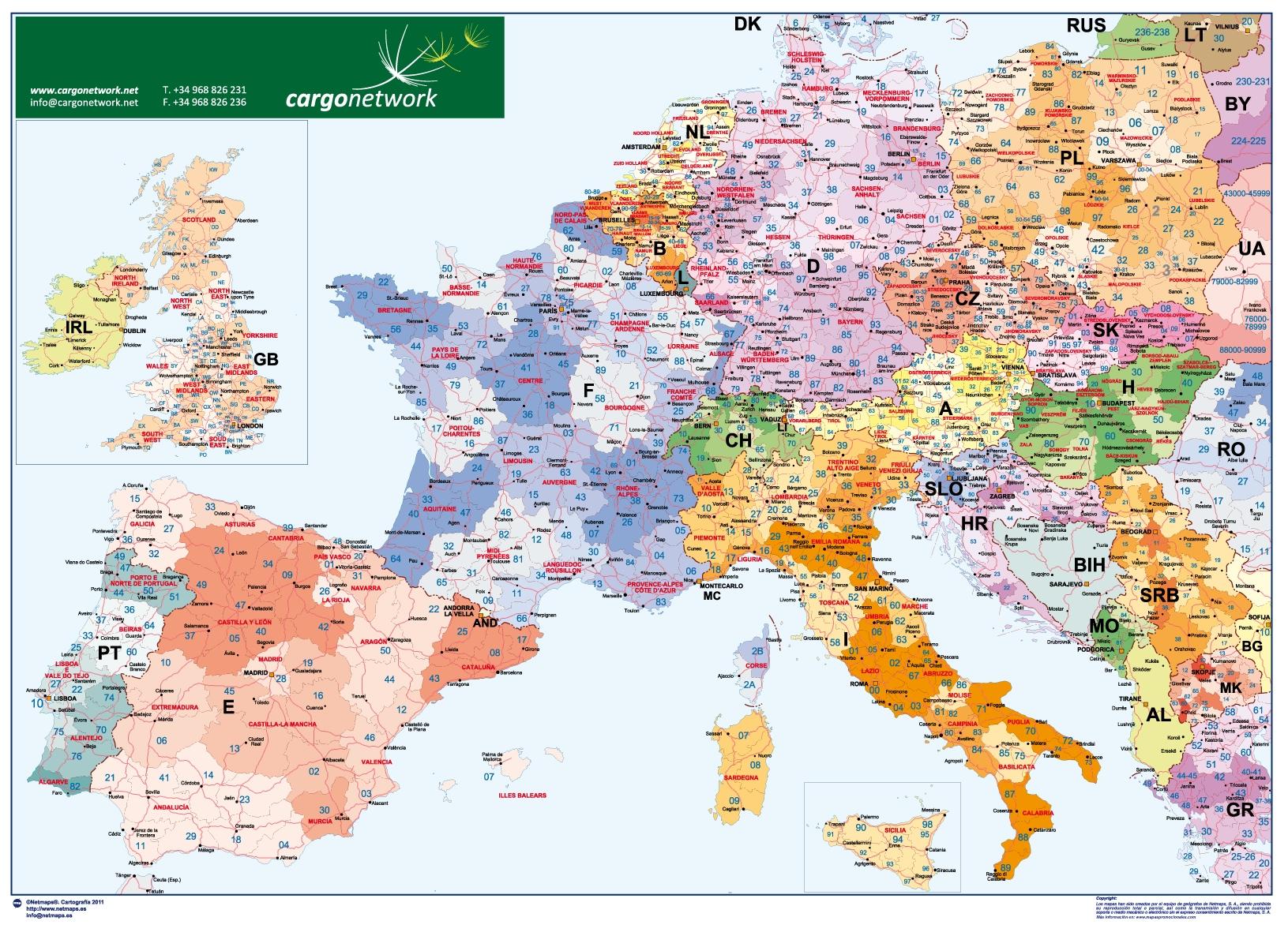 Europa Codigos Postales Sobremesa