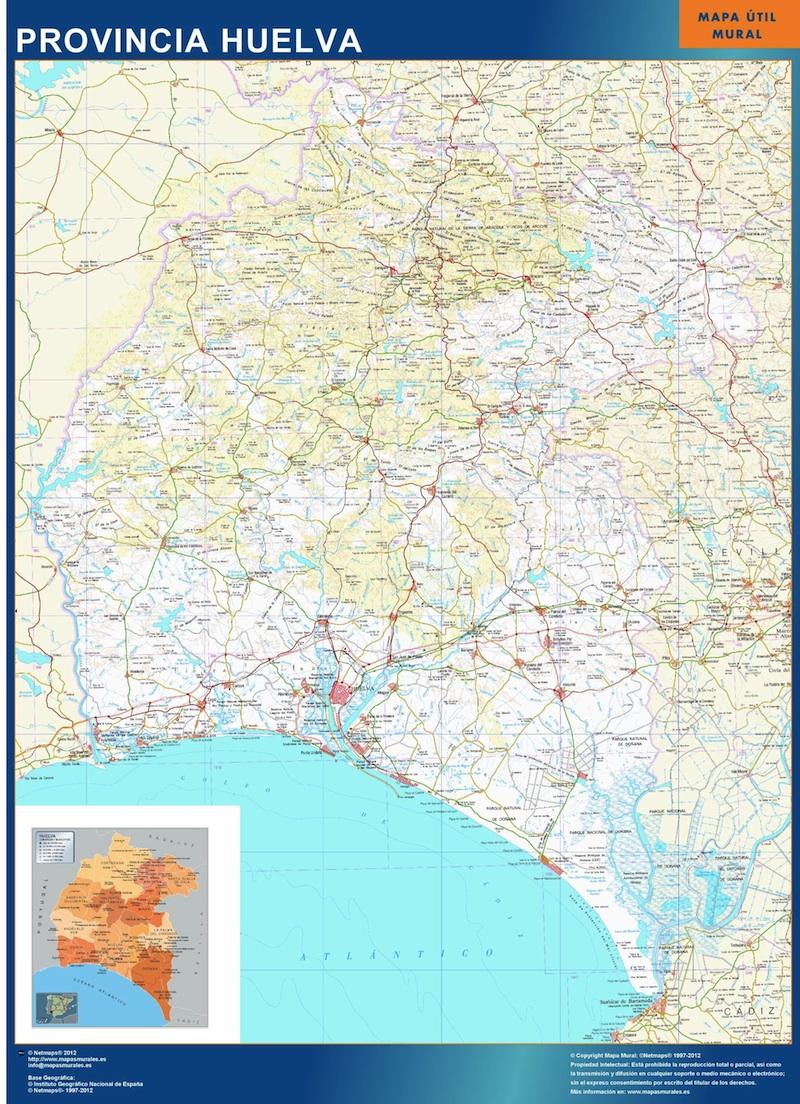 mapa mural huelva