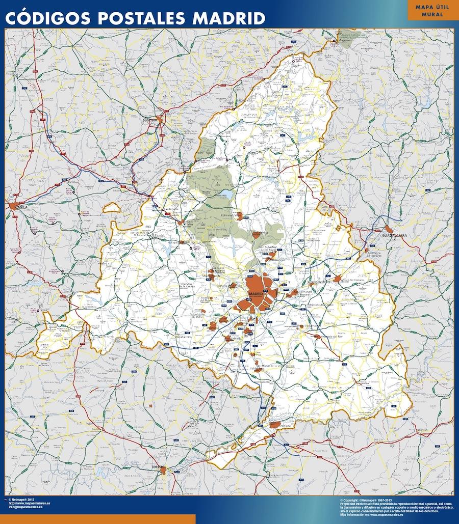 mapa madrid codigos postales