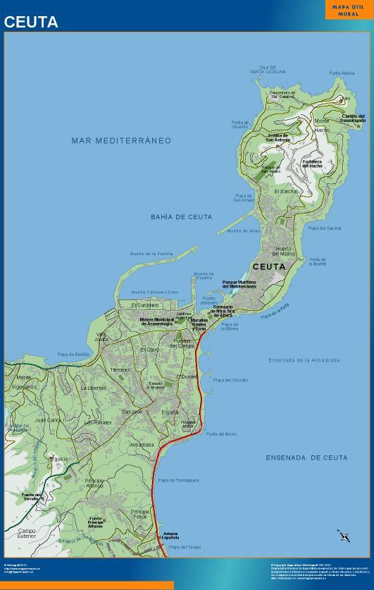 mapa Ceuta accesos