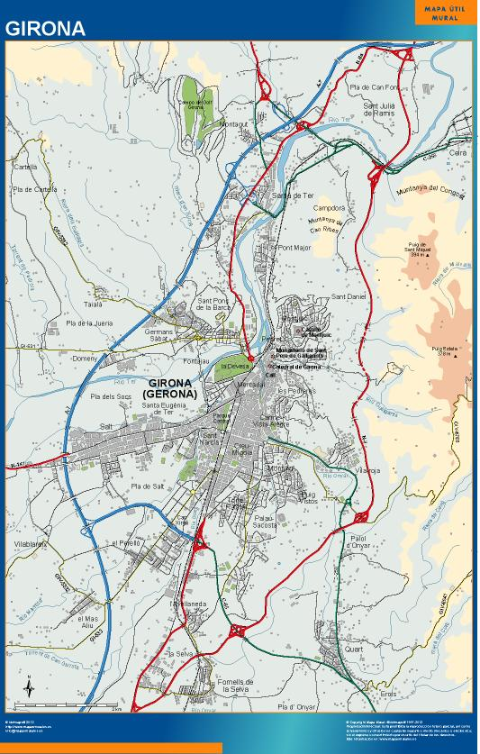 Mapa mural accesos girona mapas posters mundo y espa a for Codigo postal del barrio de salamanca en madrid