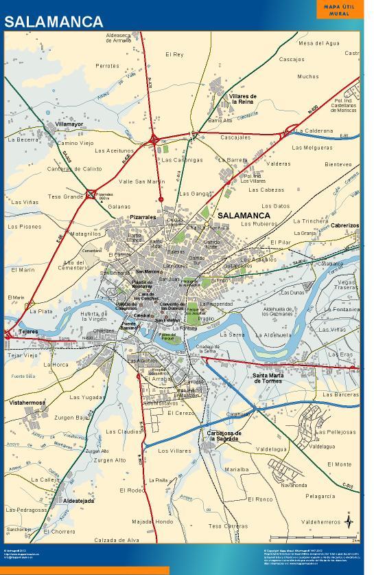 Mapa mural accesos salamanca mapas posters mundo y espa a for Codigo postal del barrio de salamanca en madrid