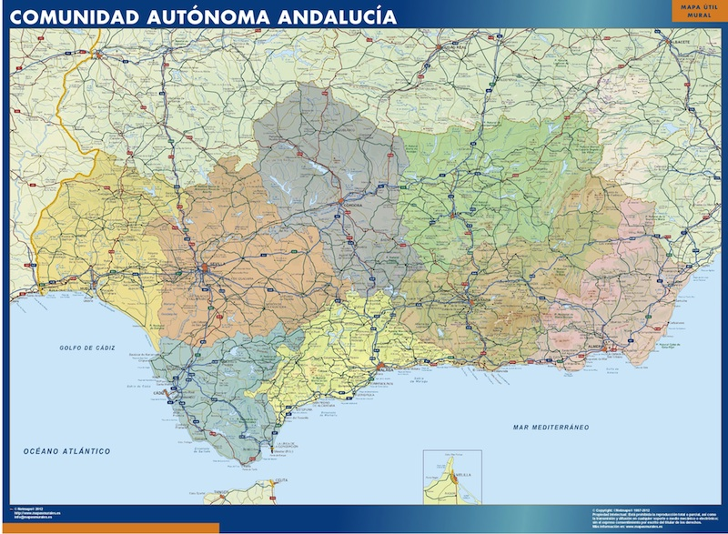 Mapa Andalucia Politico Tienda Mapas