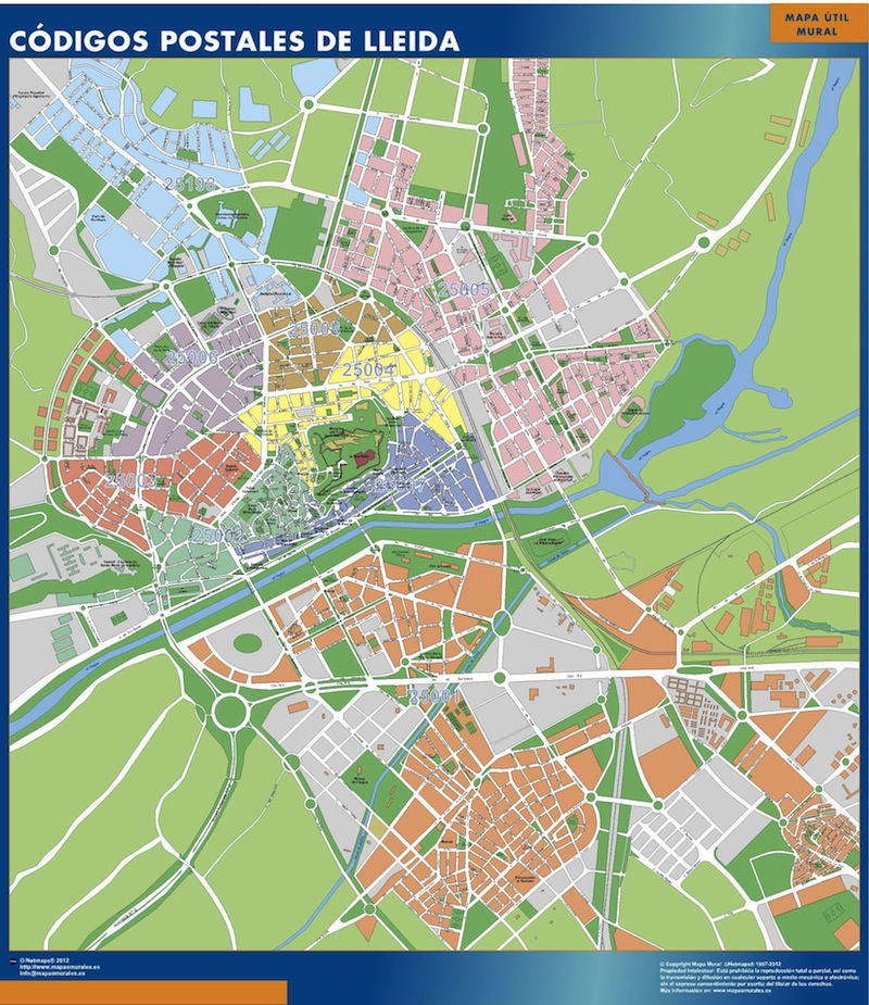 mapa lleida codigos postales