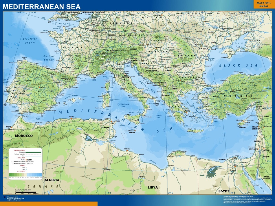 mapa mar mediterraneo relieve