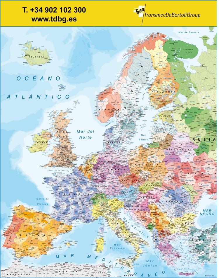 Mapa europa c digos postales log stica tienda mapas for Codigo postal calle salamanca valencia