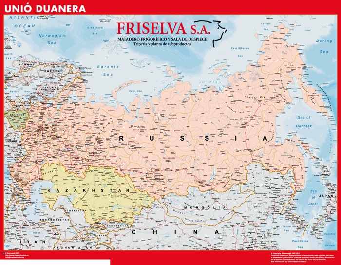 Mapa Rusia Union Aduanera