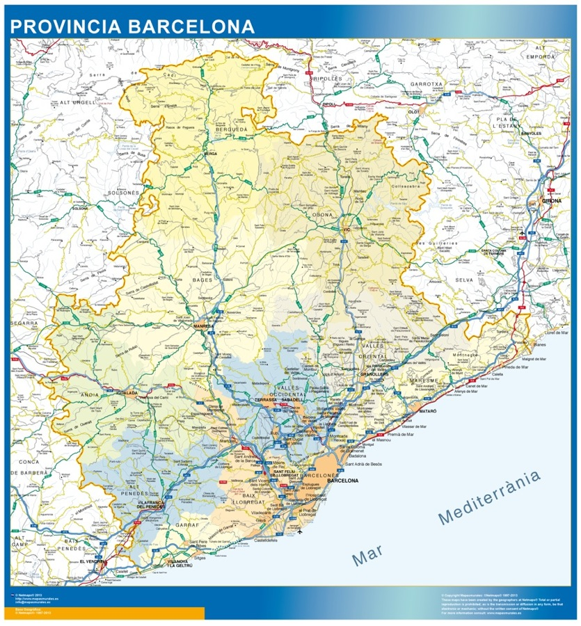 Provincia Barcelona Barcelona Mapa Provincia