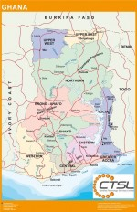 Mapa Carreteras Ghana. Africa