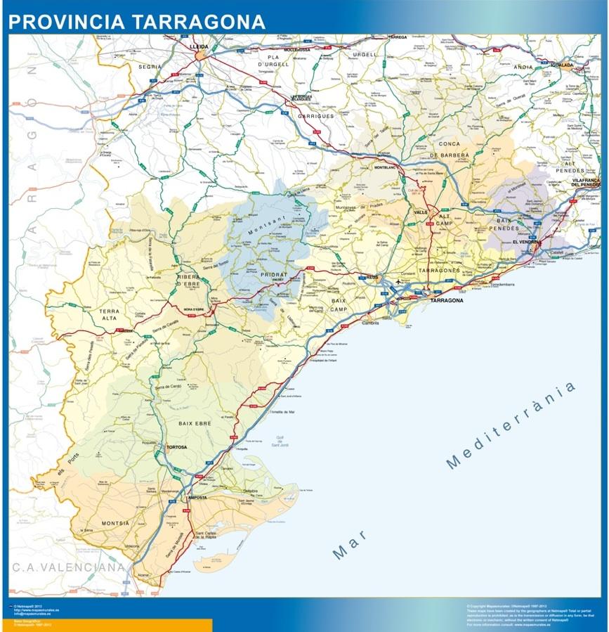 tarragona mapa provincia
