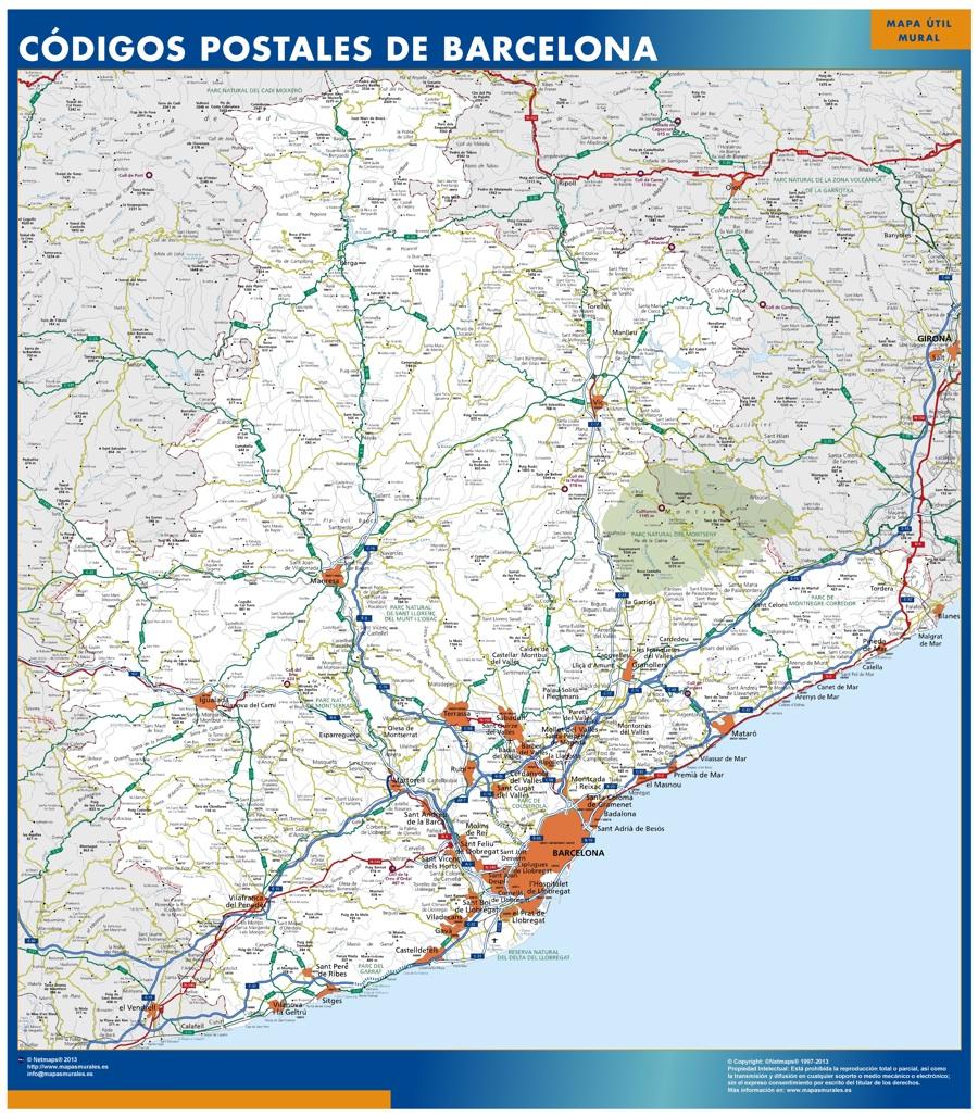 mapa barcelona provincia codigos postales