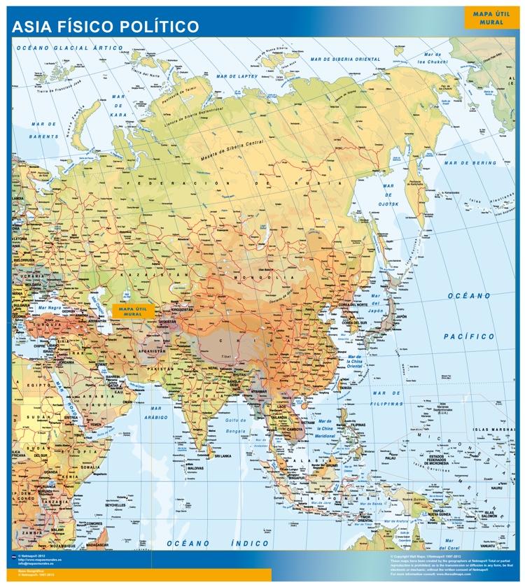 Mapa de Asia Politico  Tienda Mapas Posters Pared