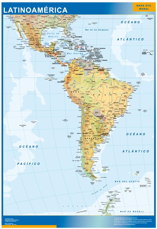 Mapa Plastificado Latinoamérica