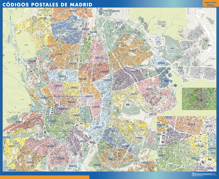 comprar mapas madrid tienda mapas posters pared On codigos postales madrid capital