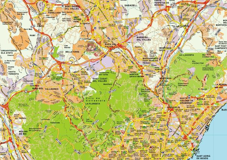 mapa area metropolitana barcelona
