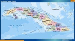 mapa plastificado cuba