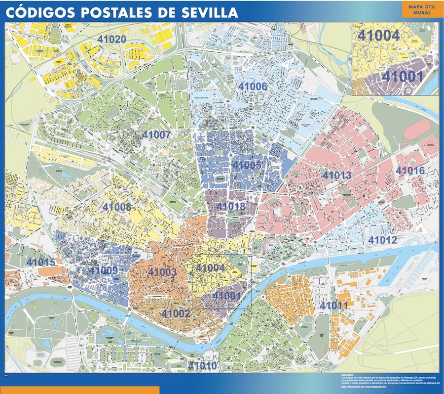 Mapa c digos postales sevilla tienda mapas posters pared for Codigo postal calle salamanca valencia
