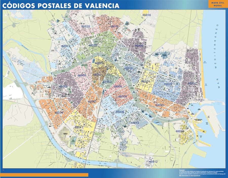 C digos postales valencia tienda mapas posters pared for Codigos postales madrid capital