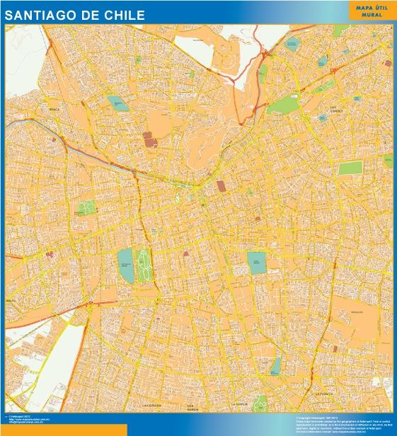 Mapa santiago de chile tienda mapas posters pared for Calles de santiago de chile