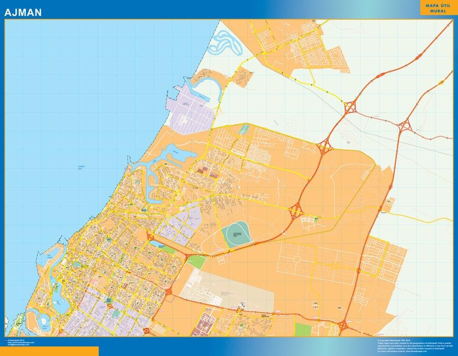 Ajman wall map