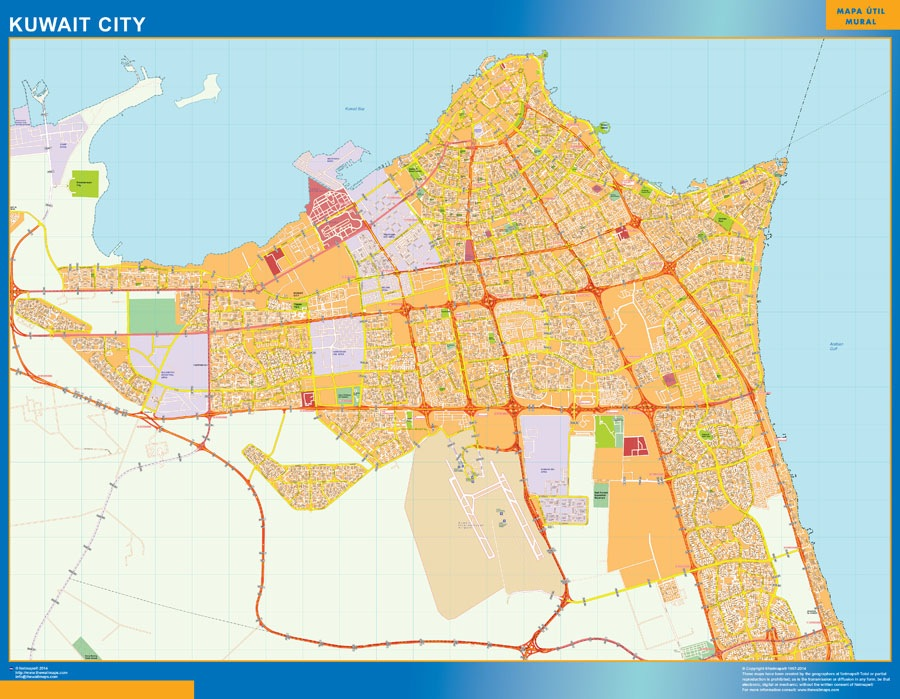 Kuwait wall map