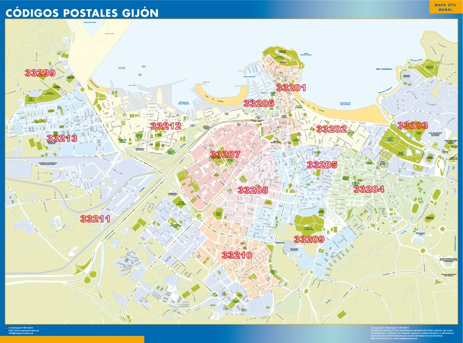 mapa gijon codigos postales