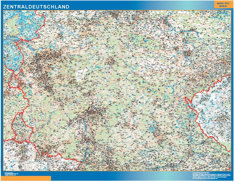Mapa Alemania central de Carreteras