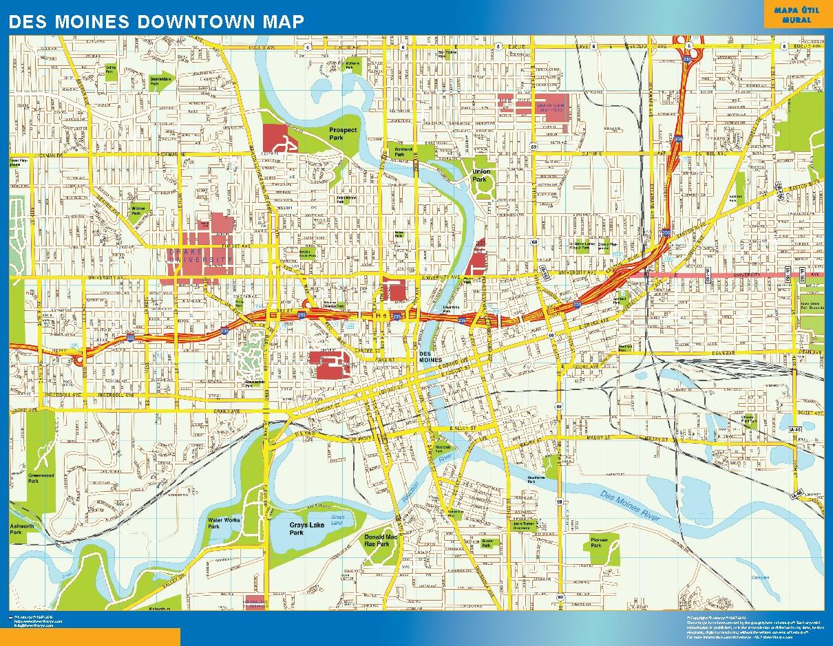 Des Moines Mapa Centro  Tienda Mapas Posters Pared