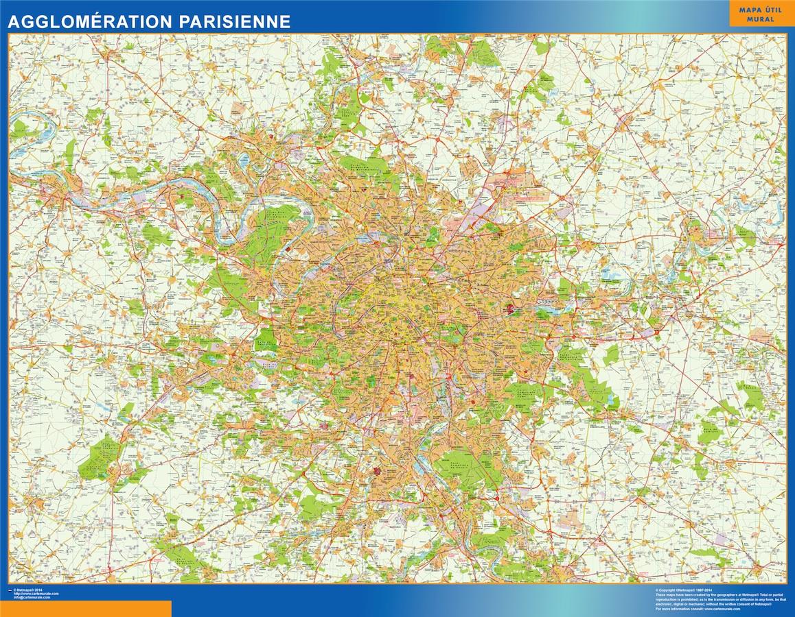Mapa Agglomeration Parisienne