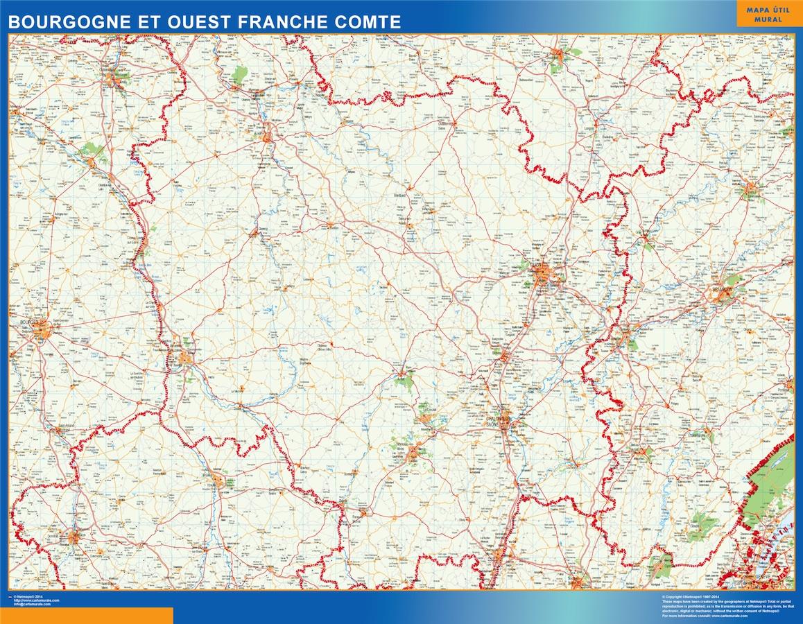 Mapa Bourgogne Franche Comte