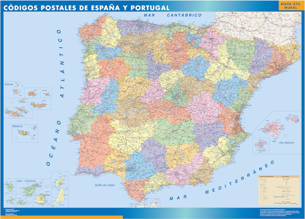 Mapa espana codigos postales tienda mapas posters pared for Codigo postal del barrio de salamanca en madrid