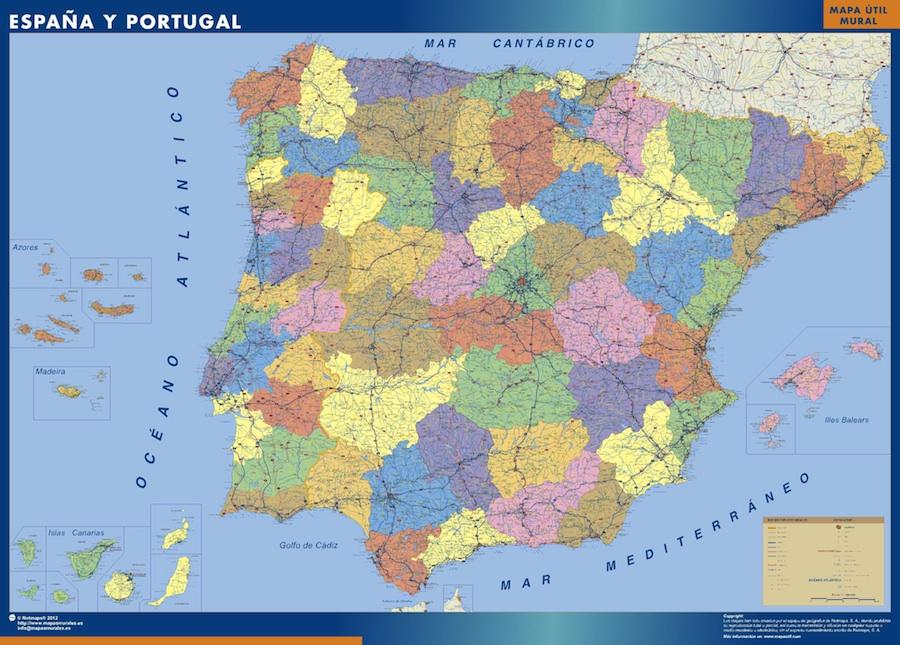 mapa de portugal actualizado Mapa Espana Provincial | Tienda Mapas Posters Pared mapa de portugal actualizado