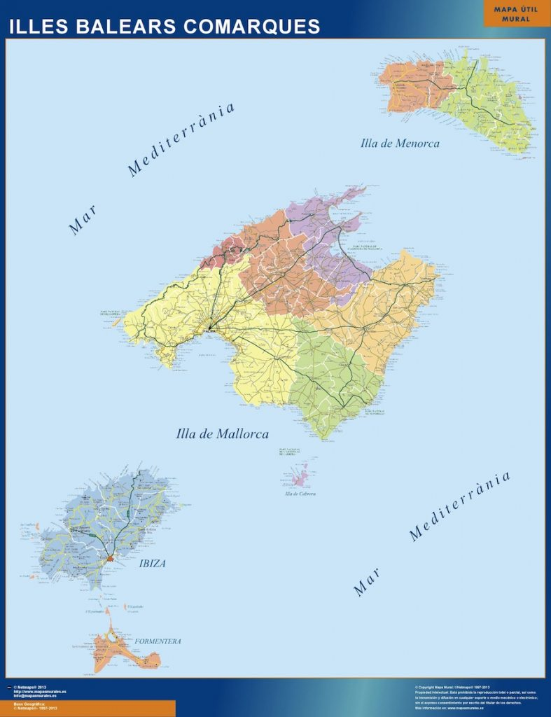Mapa Islas Baleares Comarcal