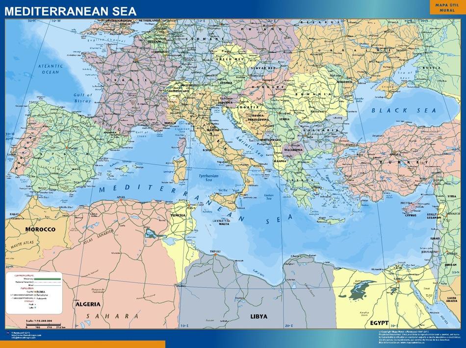 Mapa Mar Mediterraneo   Tienda Mapas Posters Pared