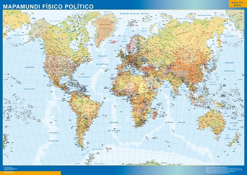 Mapa Mundo Fisico Politico  Tienda Mapas Posters Pared