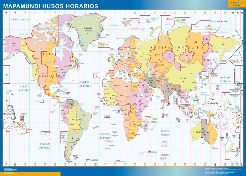 Mapa Mundo Husos Horarios | Tienda Mapas Posters Pared