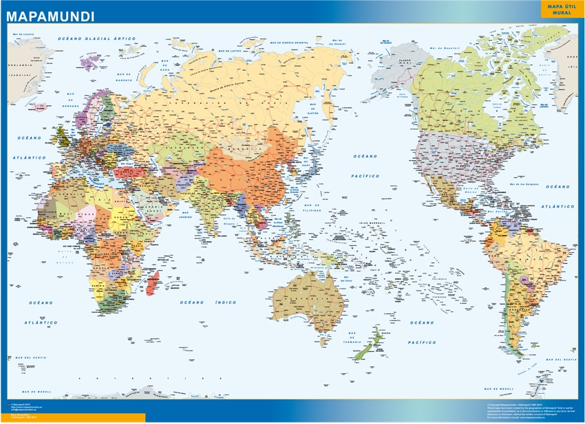 Mapa Mundo Pacifico | Tienda Mapas Posters Pared