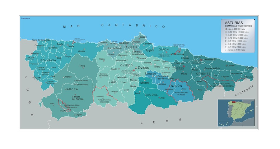 Municipios Asturias Mapas Murales De Espana Y El Mundo